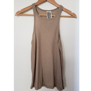 NEW FREE PEOPLE Long Beach Tank Top S Tan